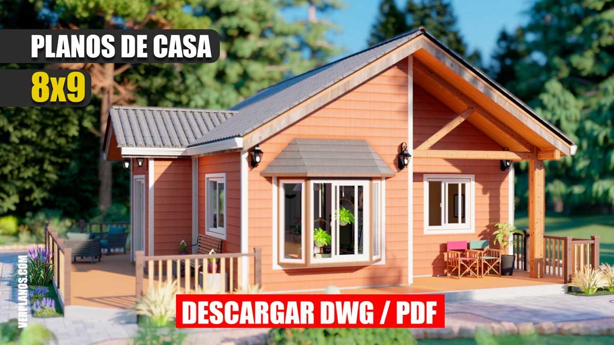 Plano de casa económica y pequeña prefabricada de 1 piso con 2 dormitorios y 1 baño en autocad y pdf