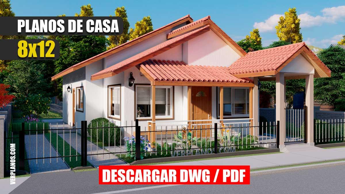 Planos de casa pequeña y económica de campo 3 dormitorios 2 baños gratis en dwg y pdf