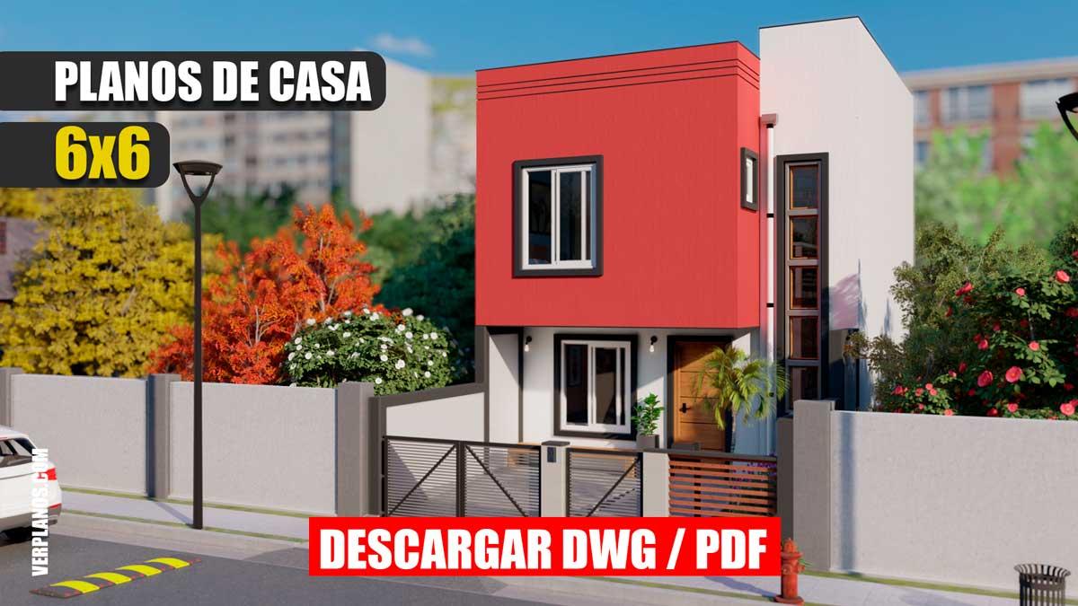 Plano de Casa Pequeña y económica moderna de 2 pisos con 3 dormitorios y 2 baños gratis en autocad y pdf