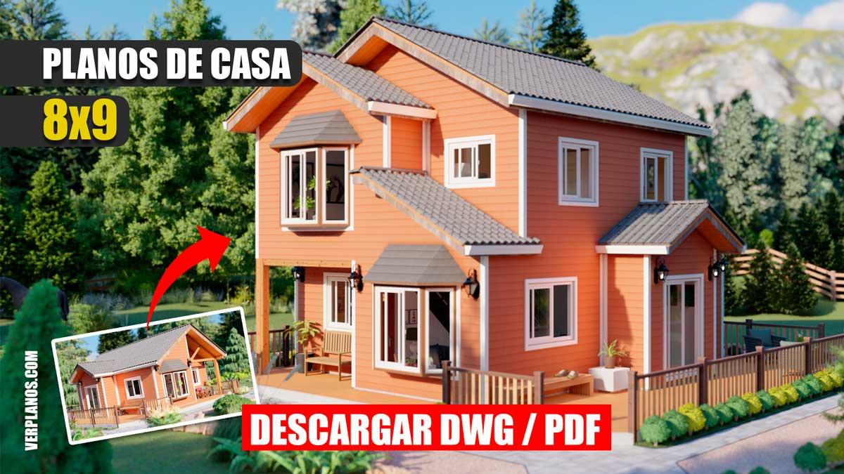 Plano de casa prefabricada de 2 pisos con 5 dormitorios y 2 baños en formato dwg para autocad y pdf ¡GRATIS!