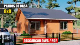 Planos de casa económica y pequeña de 1 piso con 2 dormitorios 1 baño dwg y pdf GRATIS!