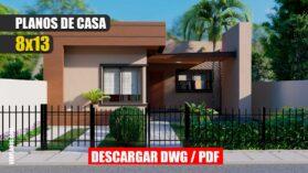 Planos de casa moderna y económica de 1 piso con 2 baños 2 dormitorios dwg y pdf gratis