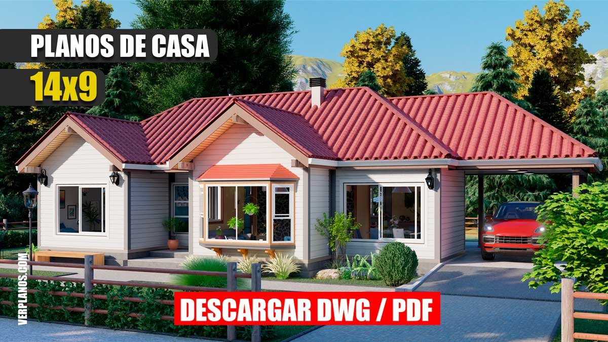 planos de casa prefabricada pequeña y economica de 2 dormitorios y 1 baño
