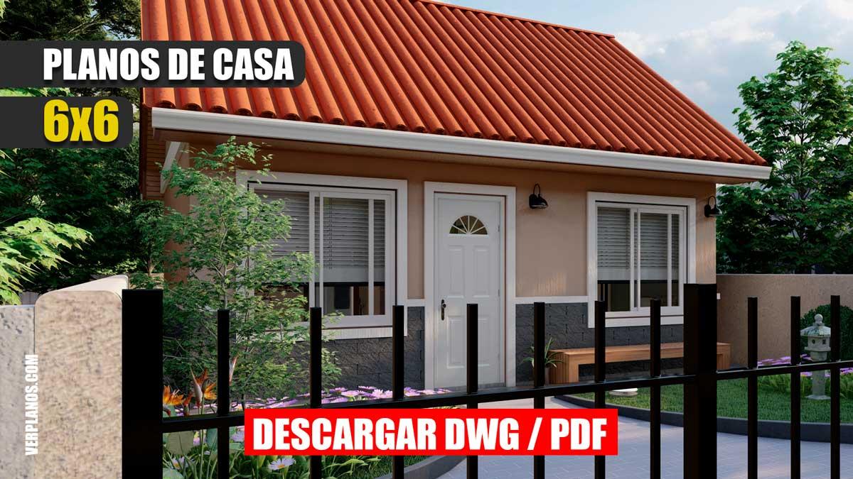 Plano de casa económica de 1 piso con 2 dormitorios 1 baño gratis en autocad y pdf