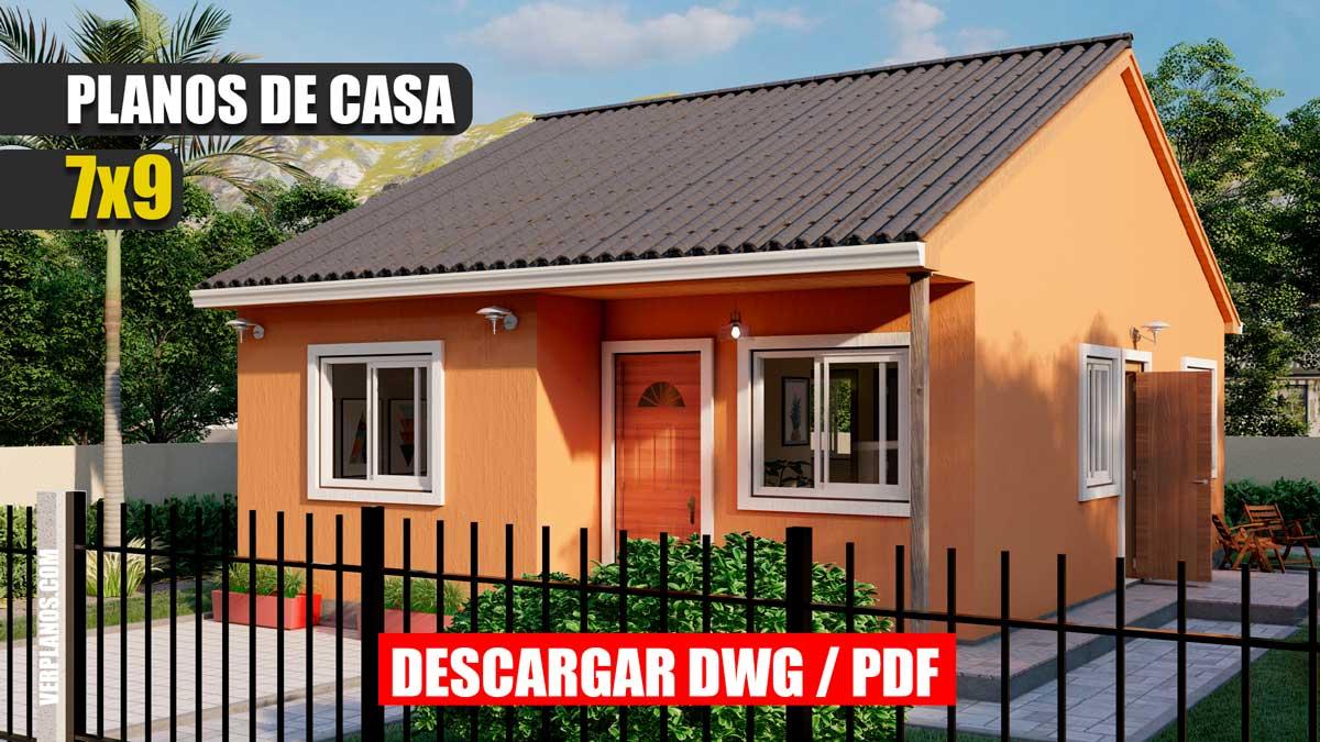 Planos de casa económica y pequeña gratis en autocad y pdf 3 dormitorios y 2 baños