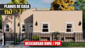 plano de casa mediterranea pequena bonita economica 3 dormitorios 1 piso 1 bano gratis en autocad