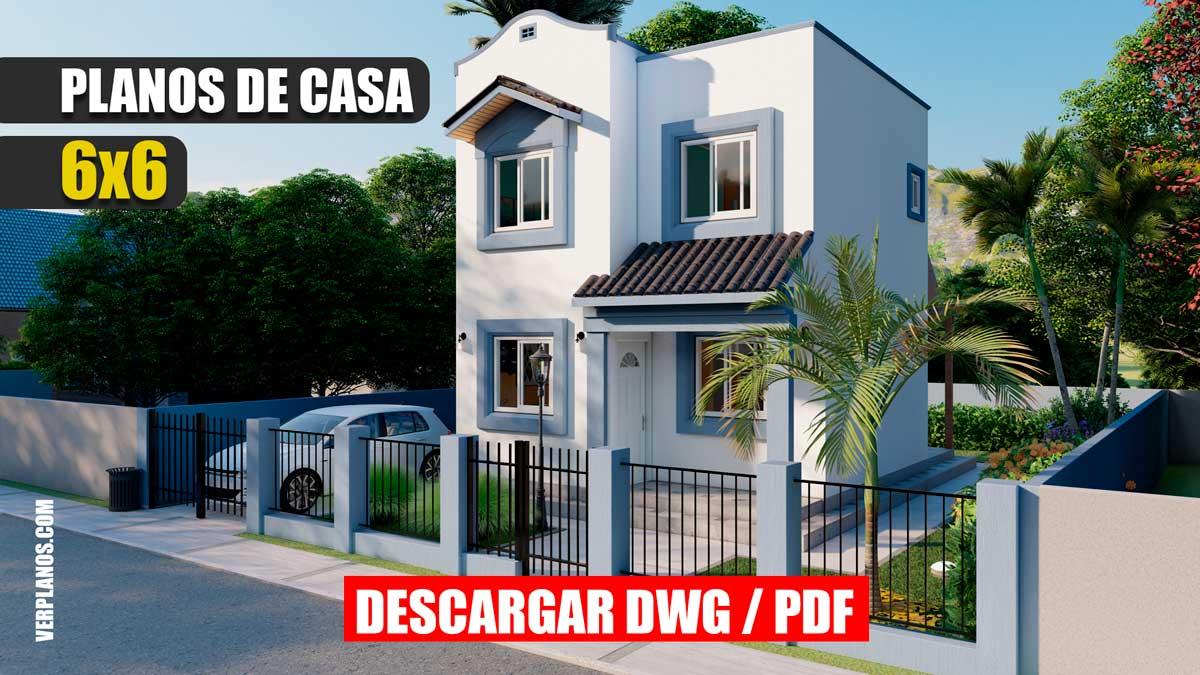 Planos de casa económica, pequeña de 2 pisos y 2 dormitorios en formato DWG para Autocad y PDF
