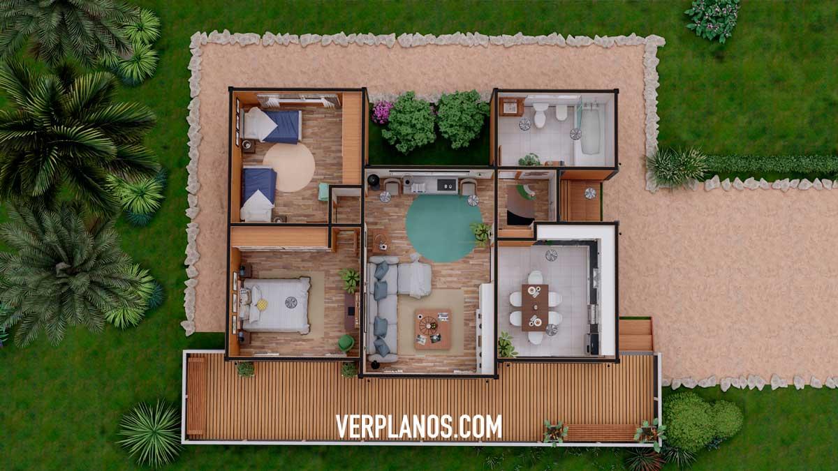 Vista previa en planta - Planos de casa de campo