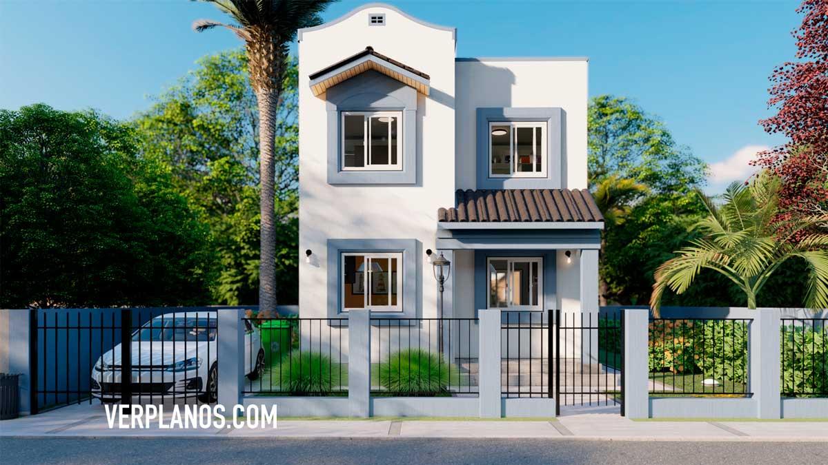 Vista previa de la fachada principal del modelo de plano de casa