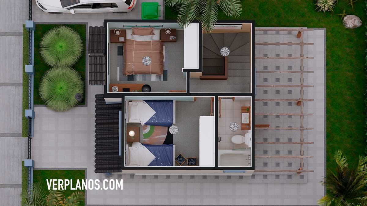 Vista previa del segundo piso del plano de casa pequeña