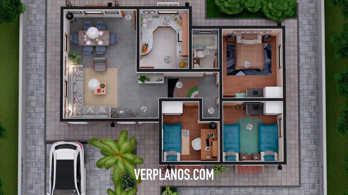 Vista previa planta plano de casa economica y pequeña