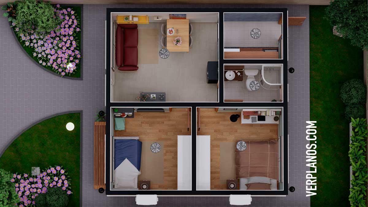 Vista previa de su planta plano de casa economica