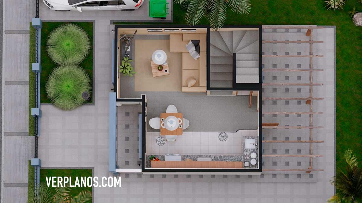 Vista previa del primer piso plano de casa economica