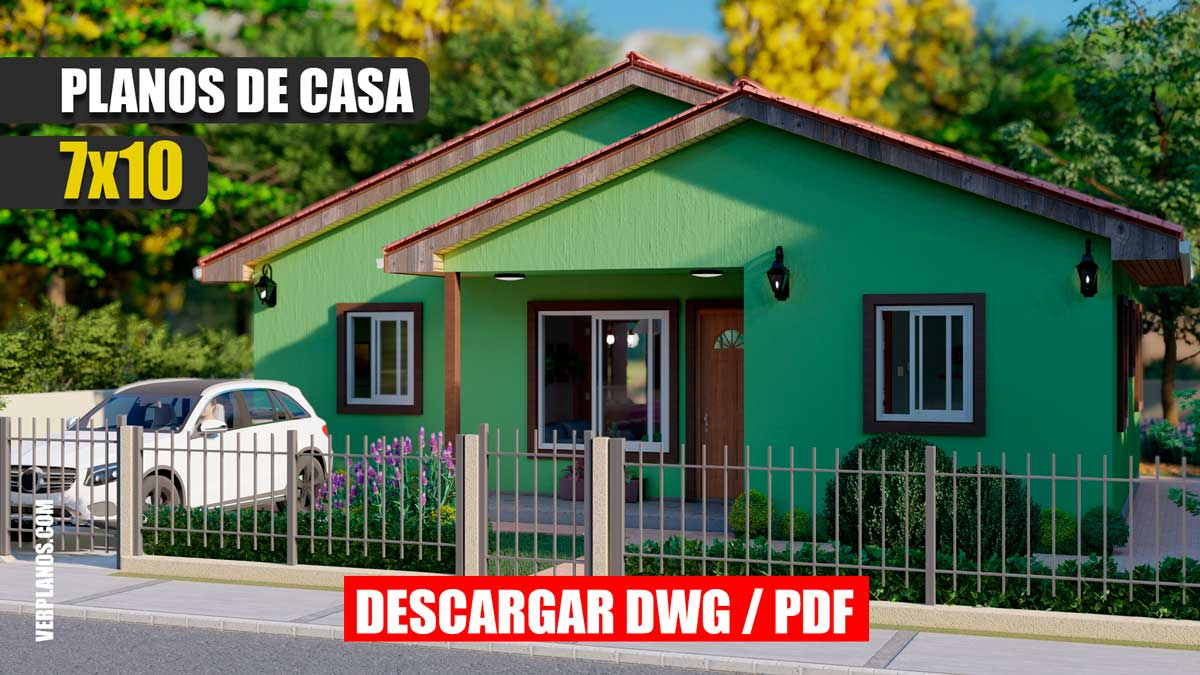 Planos de casa económica y pequeña de 3 dormitorios con 1 baño gratis en autocad y pdf para descargar
