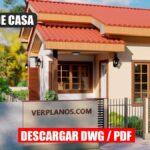 Económico plano de casa de 1 piso con 2 dormitorios y 1 baño en autocad y pdf para descargar gratis maqueta 3d
