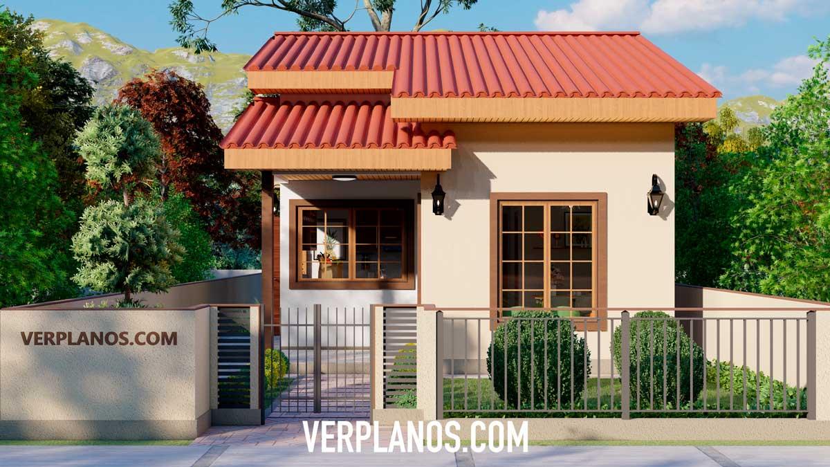 Vista previa de su fachada principal plano de casa 3d económico y pequeña de 2 dormitorios y 1 baño