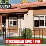 Plano de casa de 3 dormitorios con 2 baños gratis en autocad y pdf para descargar gratis