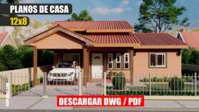 Planos de casa pequeña y económica de 1 piso con 3 dormitorios y 2 baños gratis en autocad y pdf