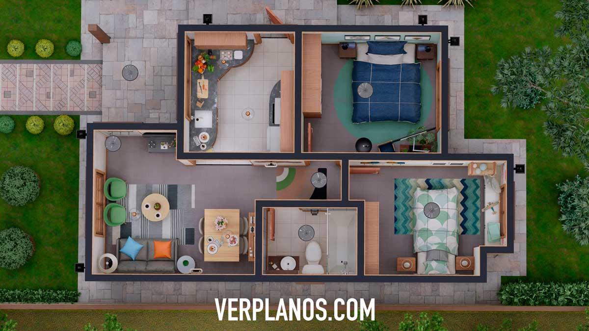 Vista previa en planta del plano de casa económica de 2 dormitorios y 1 baño en 3d