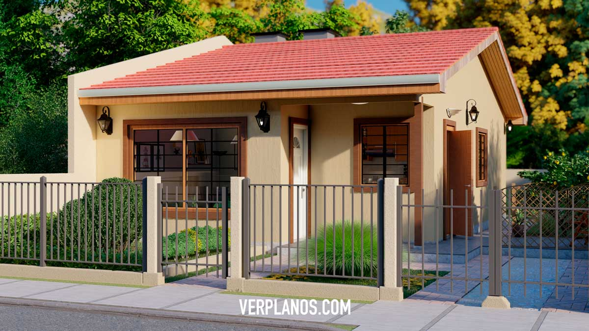Vista previa fachada plano de casa económica pequeña gratis en autocad y pdf