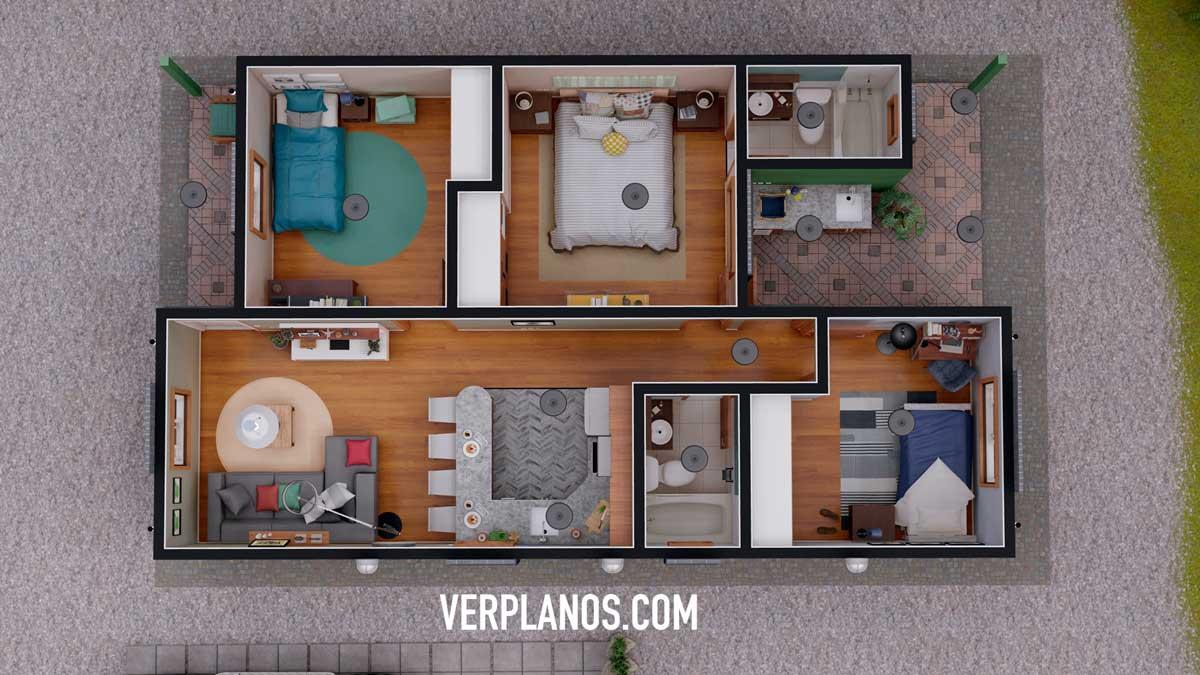 Vista previa planta plano de casa económica pequeña gratis en autocad y pdf