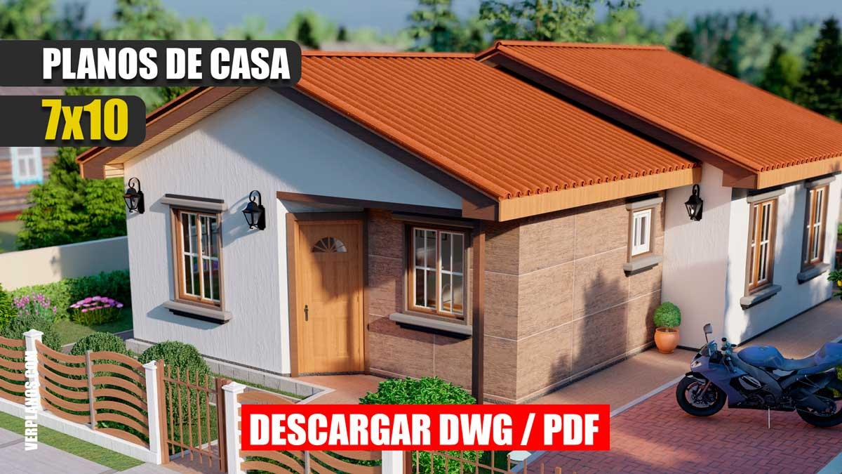 Planos de una casa de 1 piso con 3 dormitorios y 2 baños gratis para descargar en DWG y PDF