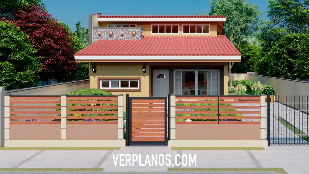 Fachada exterior plano de casa pequeña y económica de 1 piso y 2 dormitorios