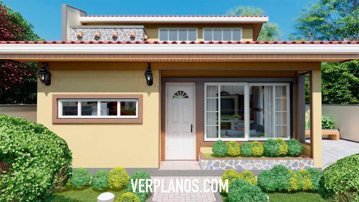 Fachada interior plano de casa pequeña y económica de 1 piso y 2 dormitorios