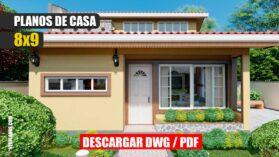 Planos de casa económica y pequeña de 1 piso y 2 dormitorios ¡GRATIS!