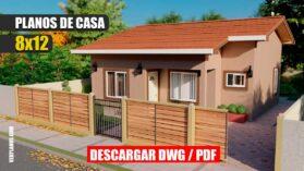 Planos de casa económica con 3 dormitorios y 2 baños en formato DWG para Autocad y PDF descargar gratis