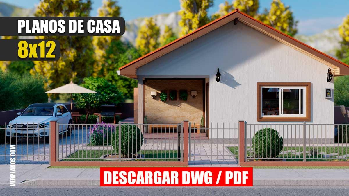 Planos de casa económica de 3 dormitorios y 2 baños 1 piso gratis en autocad y pdf para descargar