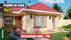 Plano de casa gratis de 1 piso con 3 dormitorios y 1 baño en formato DWG para Autocad y PDF para descargar ¡GRATIS!