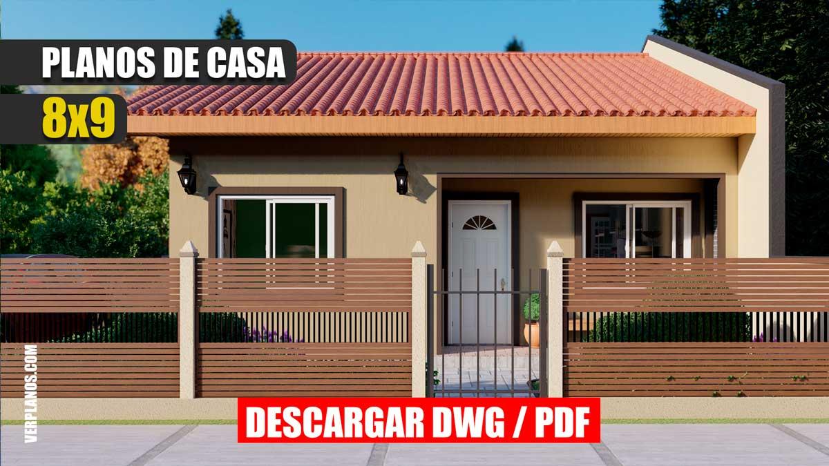 Planos de casa de 1 piso y 3 dormitorios de 2 baños gratis en autocad y pdf para descargar