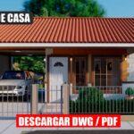 Plano de casa económica de 1 piso y 2 dormitorios con 1 baño estacionamiento y terraza en autocad y pdf para descargar gratis