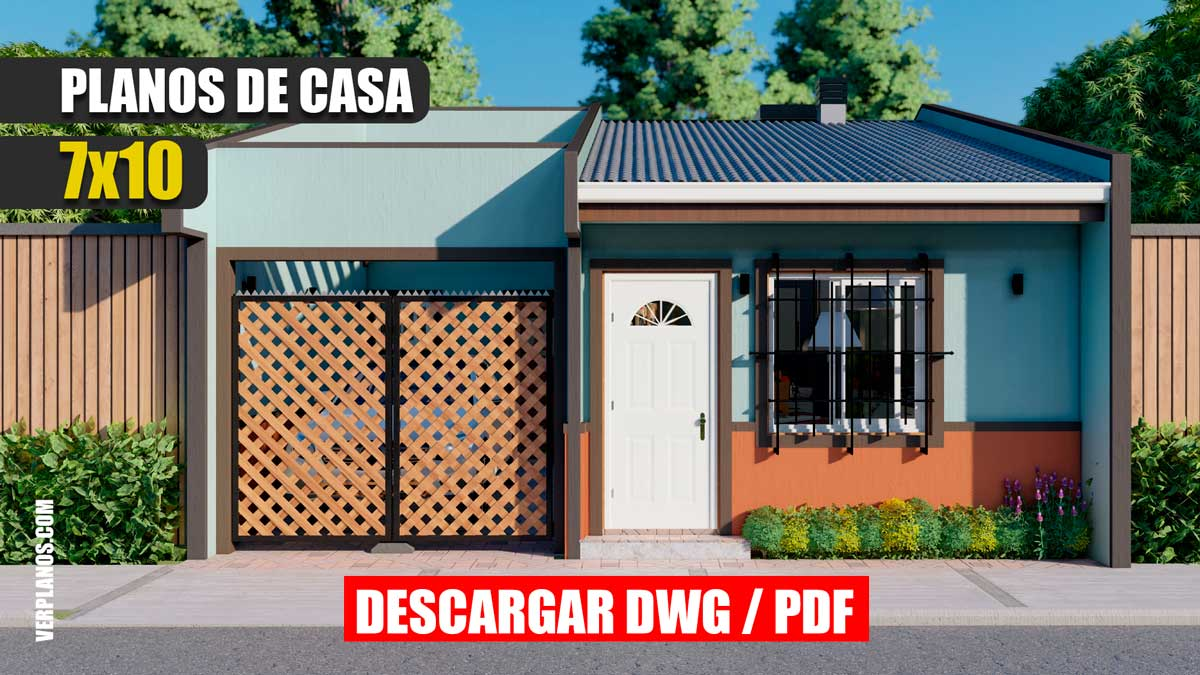 Planos de casa económica y pequeña de 1 piso y 3 dormitorios en formato DWG para Autocad y PDF