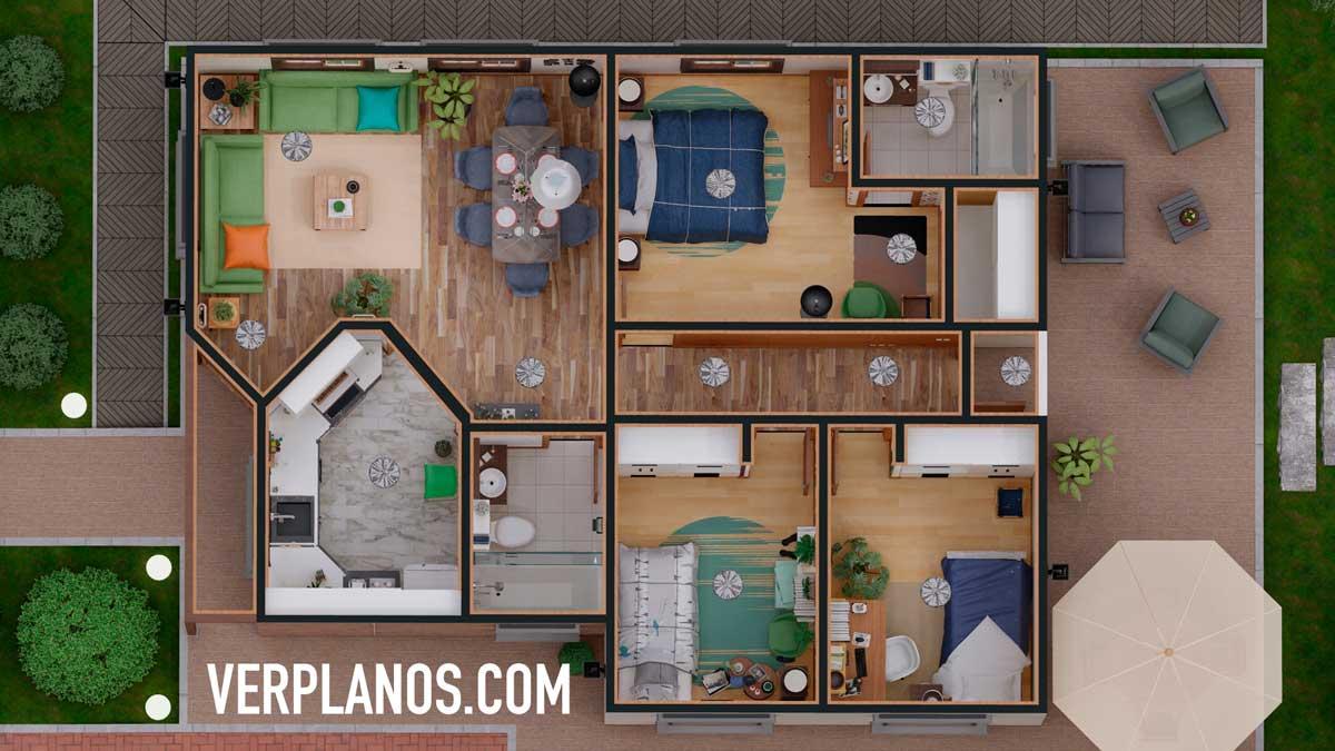Vista previa de su Planta planos de casa económica de 1 piso