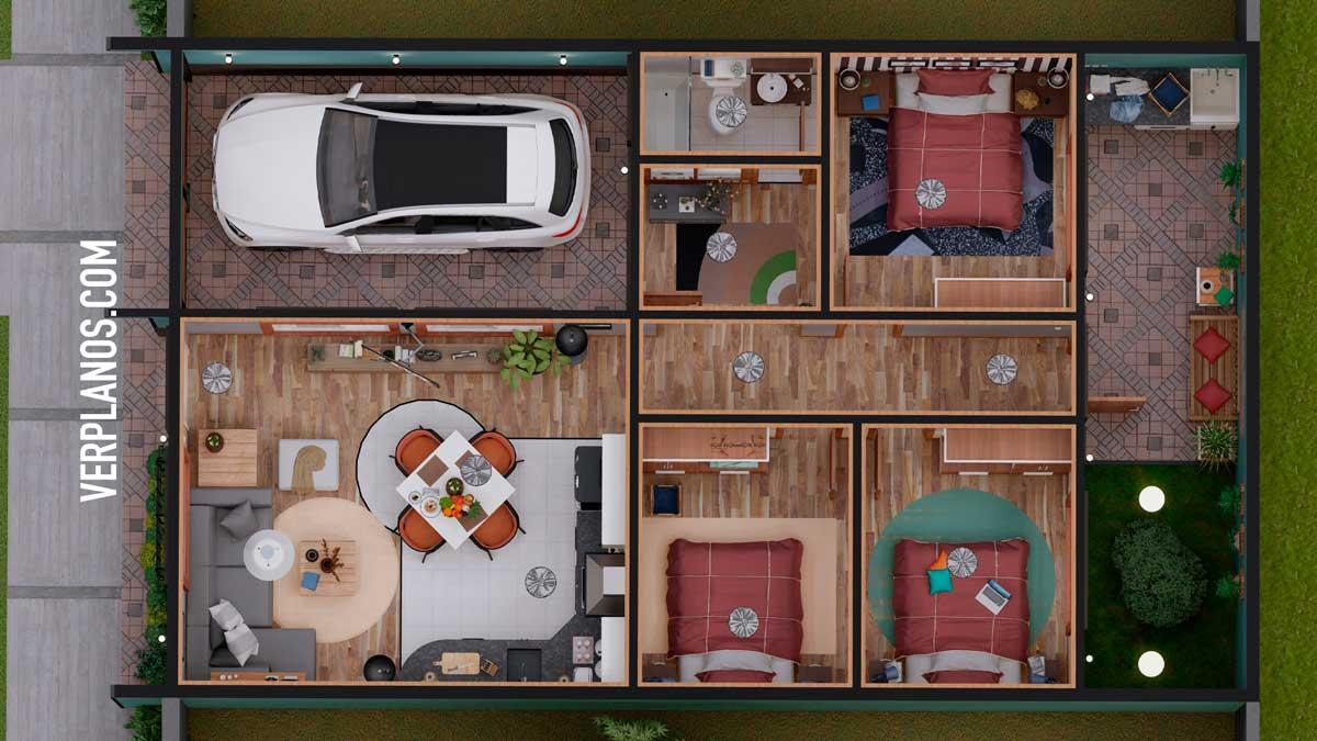 Vista previa de su planta y distribución interior Plano de casa Pequeña