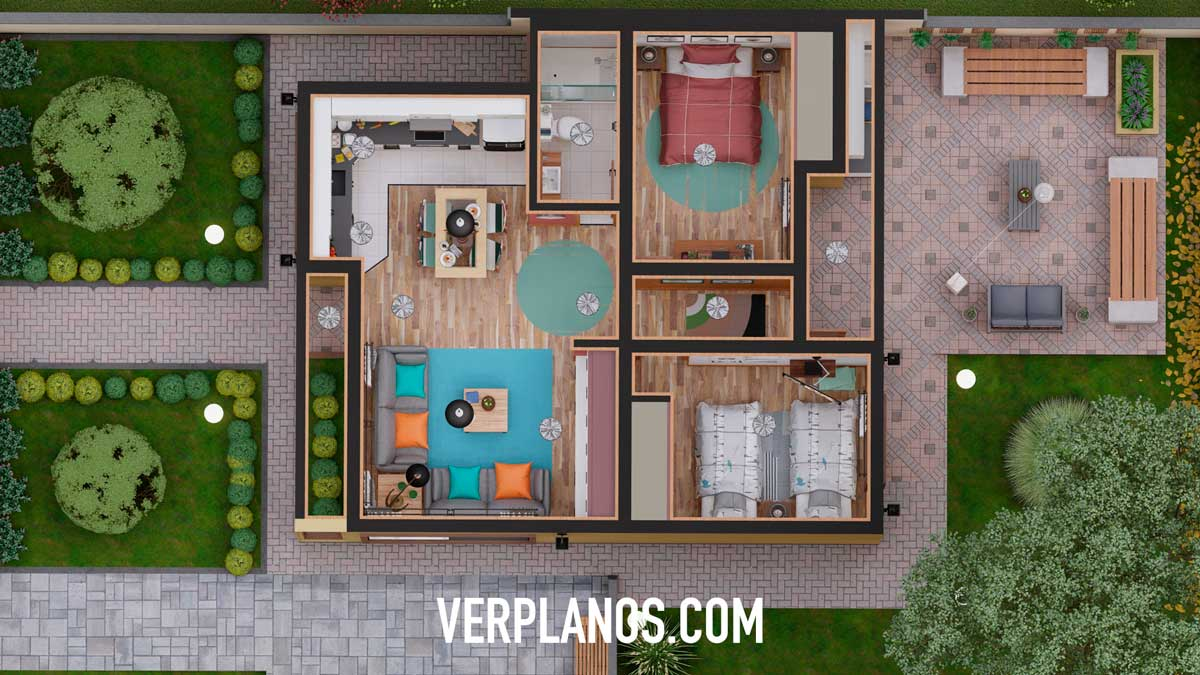 Planta vista previa plano de casa pequeña y económica