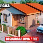 Planos de casa pequeña y económica de 3 dormitorio y 2 baños en DWG para AutoCAD y PDF Descargar ¡GRATIS!