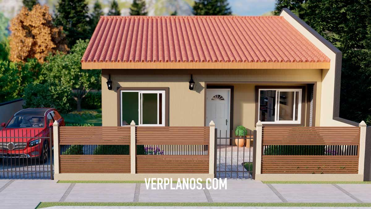 Fachada principal plano de casa de 1 piso con 3 dormitorios y 2 baños gratis en autocad y pdf