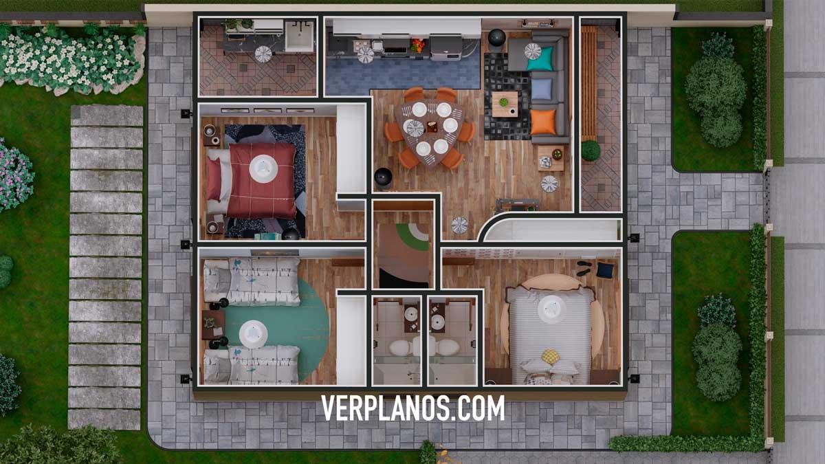 Vista previa planta plano de casa de 1 piso con 3 dormitorios y 2 baños en formato dwg y pdf gratis para descargar