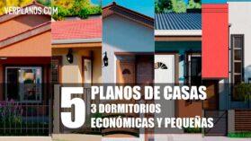 Planos de Casas de 1 piso con 3 Dormitorios para descargar GRATIS en formato DWG para Autocad y PDF