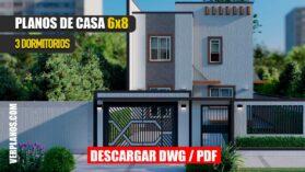 Planos de Casa de 2 pisos con 3 dormitorios en formato dwg para autocad y pdf