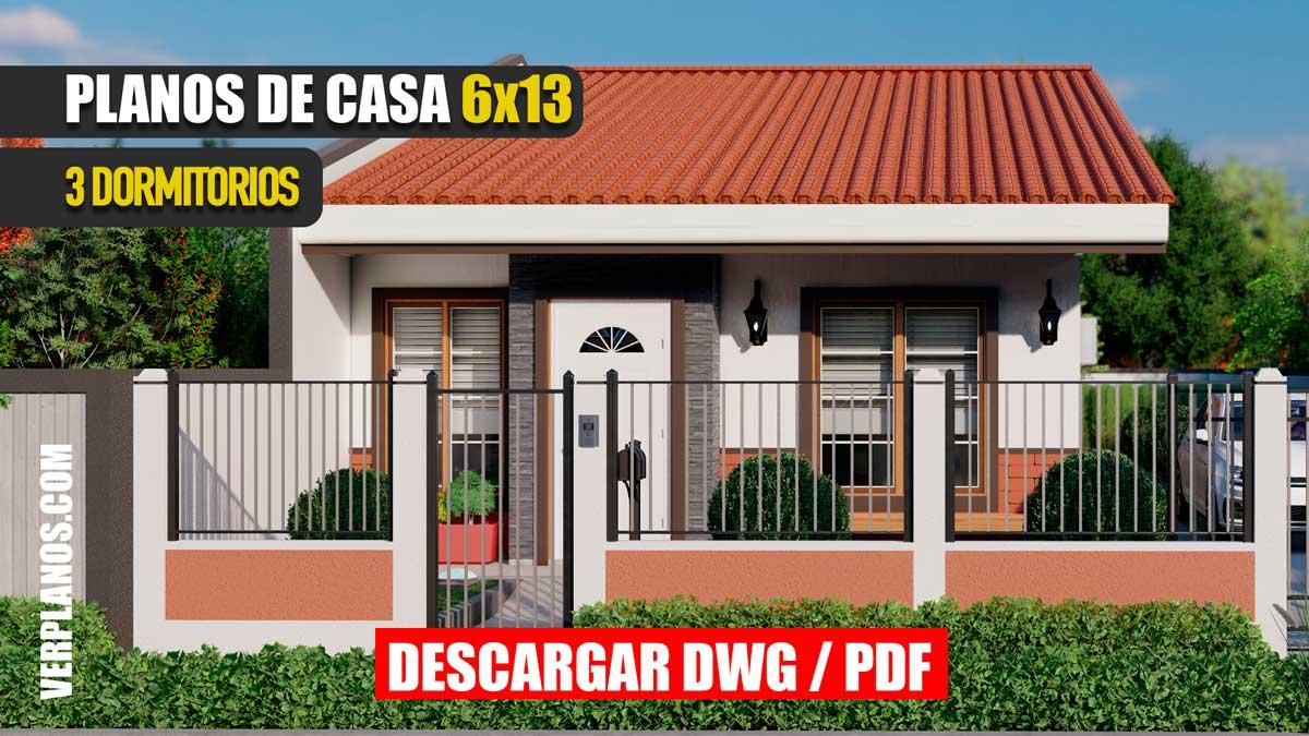 Planos de Casa hermosa y pequeña económica de 1 piso con 3 dormitorios y 2 baños gratis en autocad y pdf