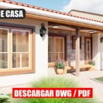 Planos de Casa pequeña y económica de 1 piso con 3 dormitorios y 2 baños gratis en formato DWG y PDF