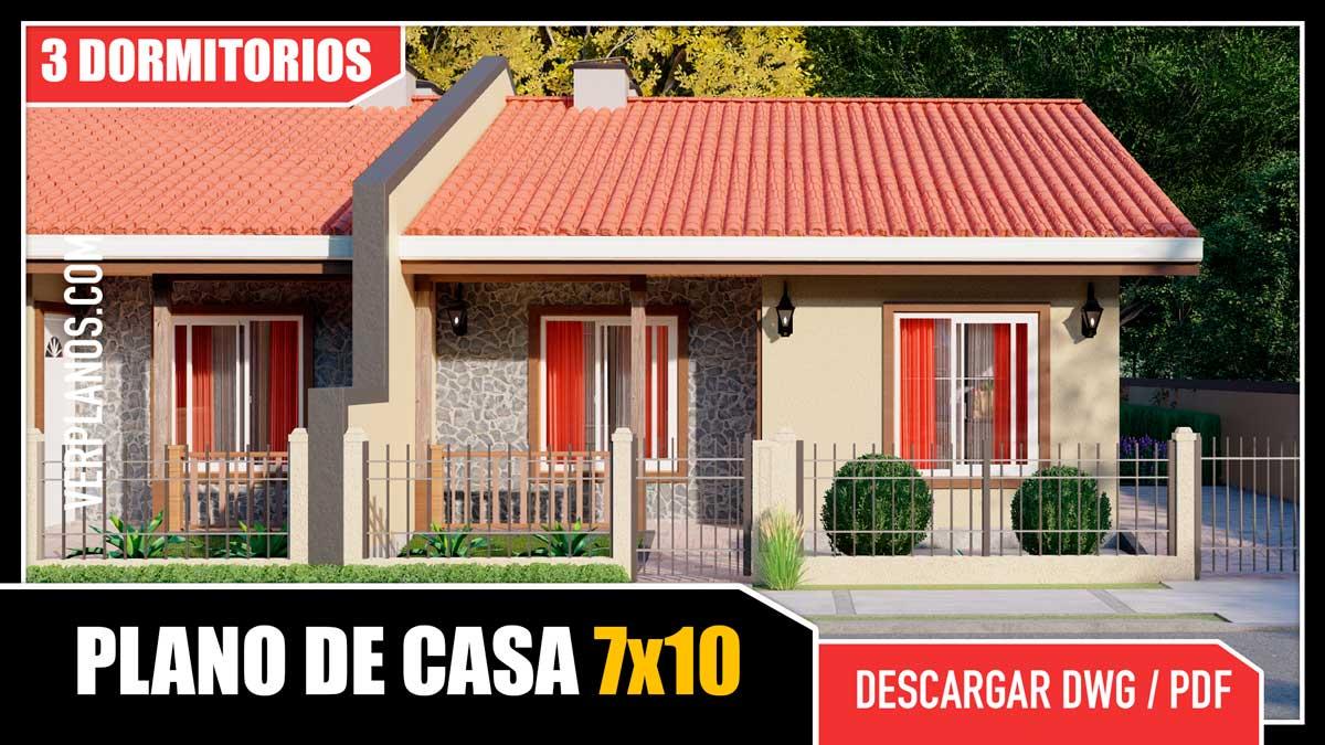 Planos de casa duplex 3 dormitorios 2 baños gratis en pdf y autocad para descargar