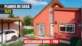 Planos de casa económica y pequeña de 1 piso con 2 dormitorios y 2 baños en formato DWG para Autocad y PDF