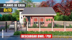 Planos de casa pequeña y económica de 1 piso y 3 dormitorios con 2 baños gratis para descargar en PDF y Autocad