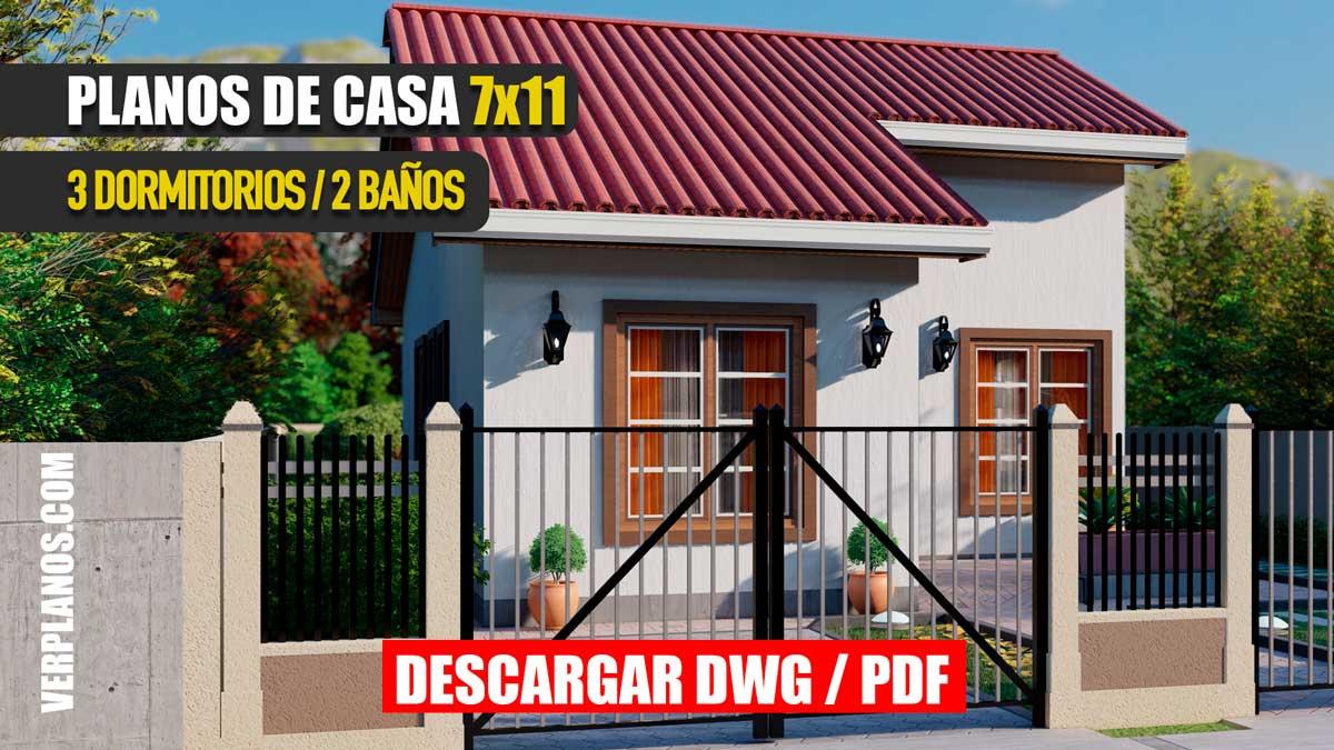 Planos de casa prefabricada de 1 piso con 3 dormitorios y 2 baños económica y pequeña para descargar