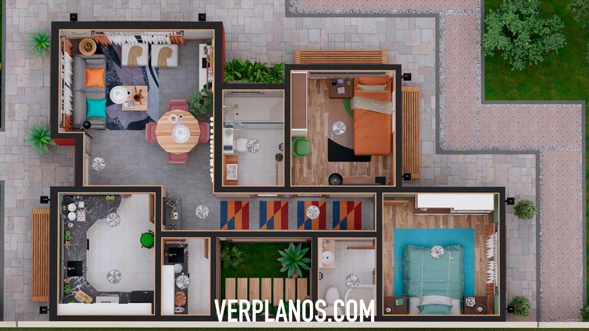 Vista previa en planta plano de casa
